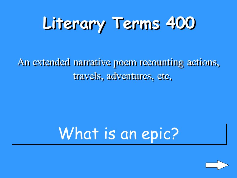 Literary Terms 300 exaggeration or overstatement Im so hungry I could eat a horse.