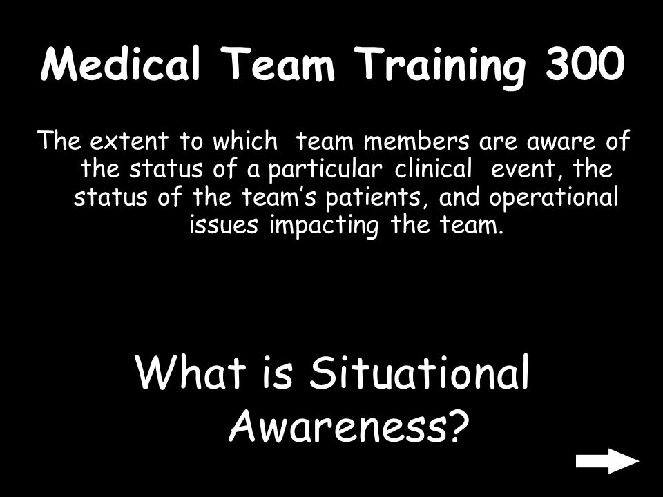 Medical Team Training 200 The process of monitoring the actions of other team members and intervening to avoid errors. What is Cross Monitoring?