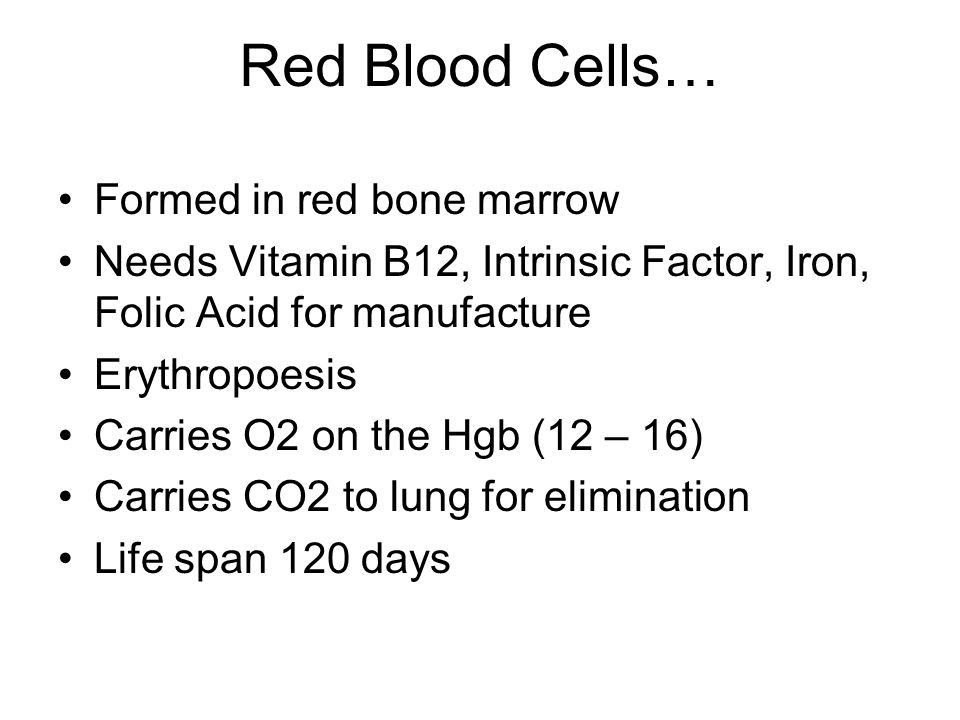 Red Blood Cells… Formed in red bone marrow Needs Vitamin B12, Intrinsic Factor, Iron, Folic Acid for manufacture Erythropoesis Carries O2 on the Hgb (