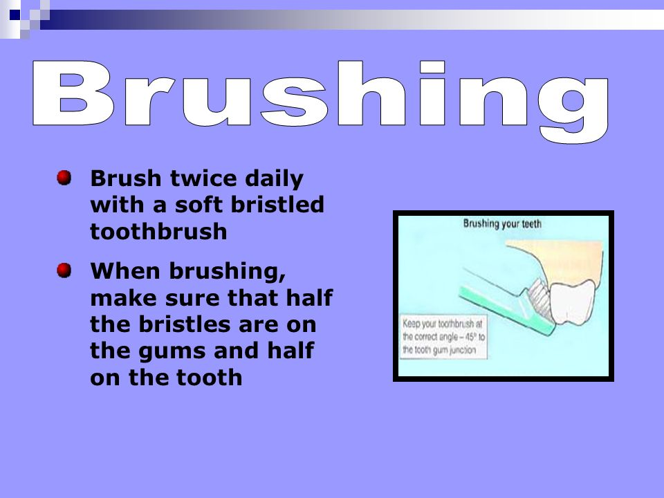 Brushing removes plaque and food debris that sits on your teeth Brushing also keeps your gum tissue healthy Brushing promotes a clean and healthy envi