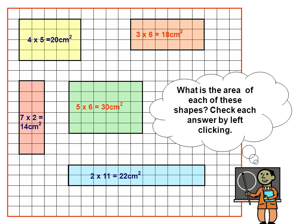 What is the area of each of these shapes? Check each answer by left clicking. 4 x 5 =20cm 2 3 x 6 = 18cm 2 7 x 2 = 14cm 2 5 x 6 = 30cm 2 2 x 11 = 22cm