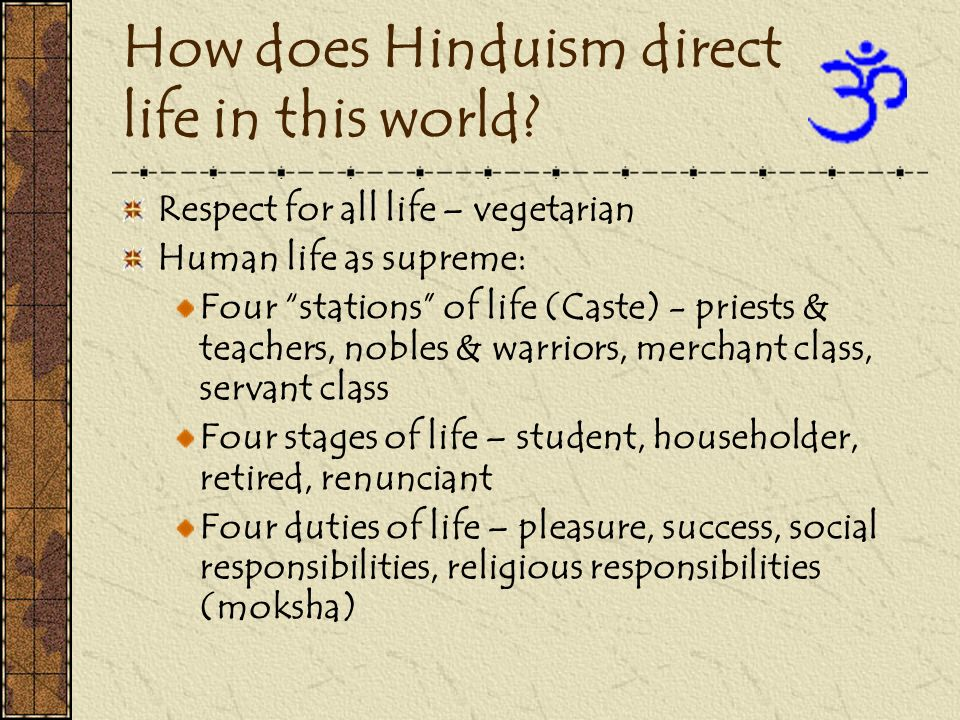 How does Hinduism direct life in this world? Respect for all life – vegetarian Human life as supreme: Four stations of life (Caste) - priests & teache
