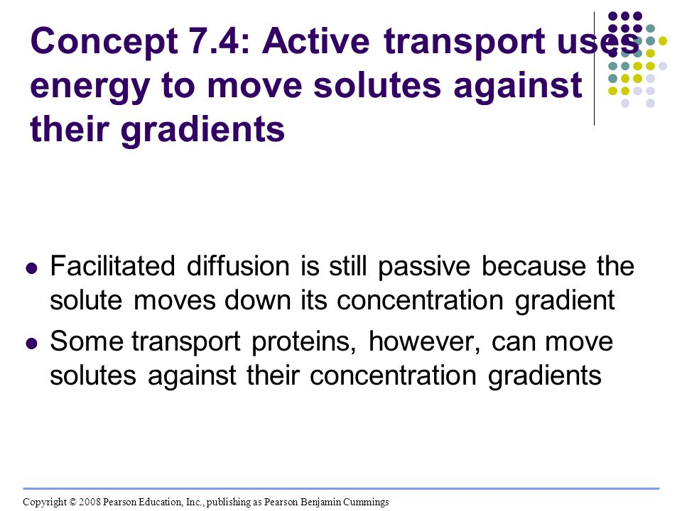 Concept 7.4: Active transport uses energy to move solutes against their gradients Facilitated diffusion is still passive because the solute moves down