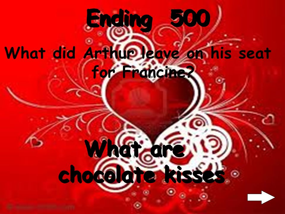 Ending 400 What did Francine want to give Arthur? What is a kiss