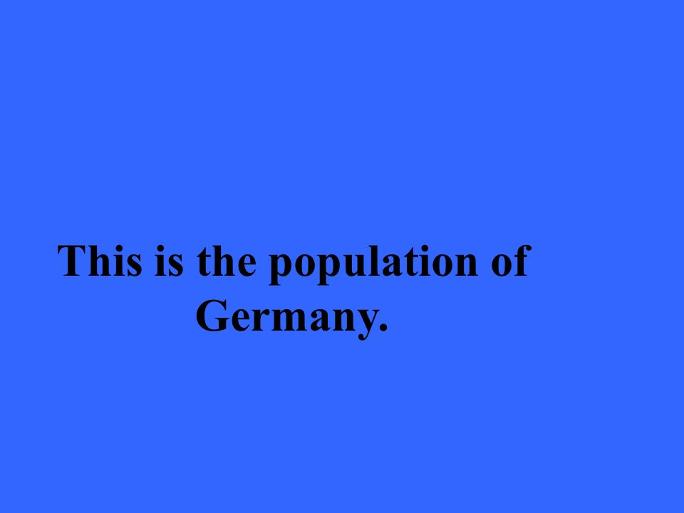 This is the population of Germany.