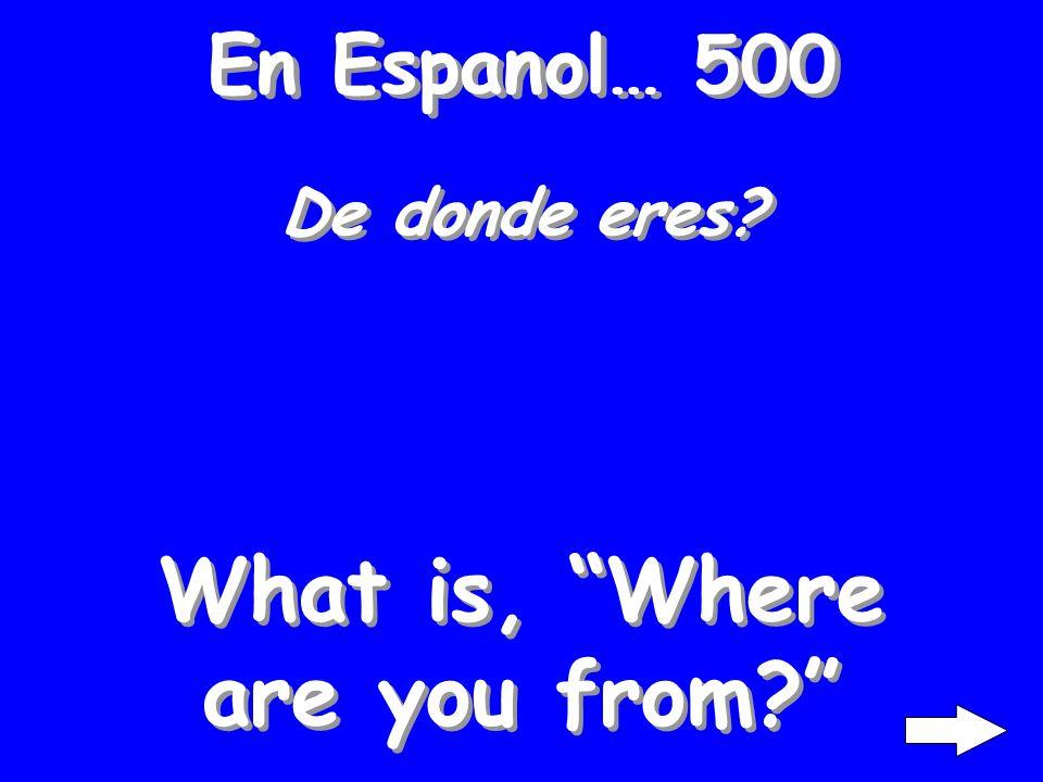 En Espanol… 400 Cuantos anos tienes? What is, How old are you?