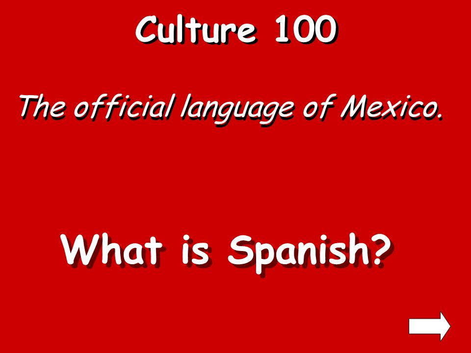 Culture En Espanol… Common Language Facts 300 400 500 100 200 300 400 500 100 200 300 400 500 100 200 300 400 500 100 200 Holidays 100 Famous People 200 300 400 500 100 200 300 400 500 Exit