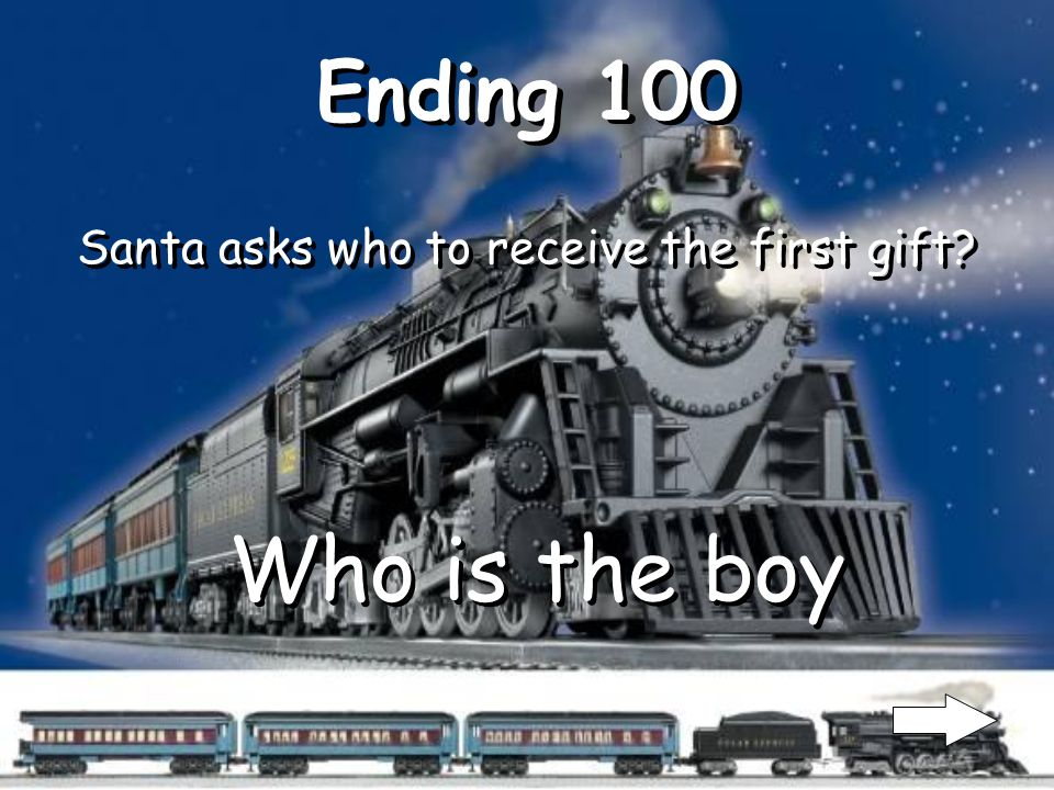 Middle 500 When the train arrives to the North Pole who is there to meet the kids.