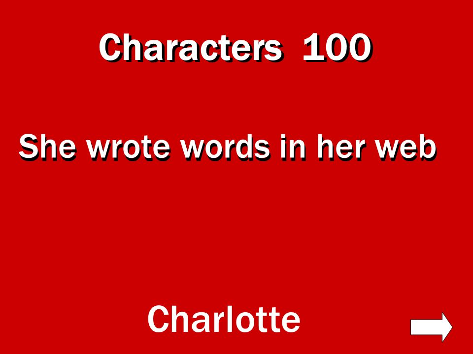 Characters Literary Elements Quotes Miscellaneous 100 Numbers Exit Charlottes Web Jeopardy