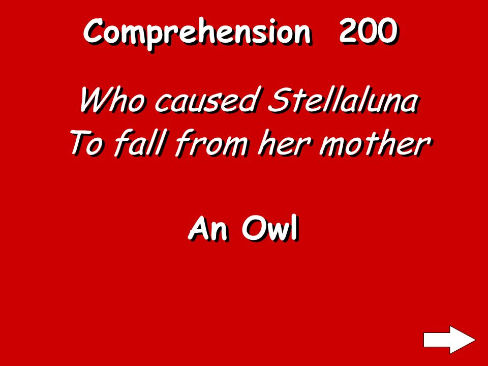 Comprehension 100 What type of bat is Stellaluna A fruit Bat