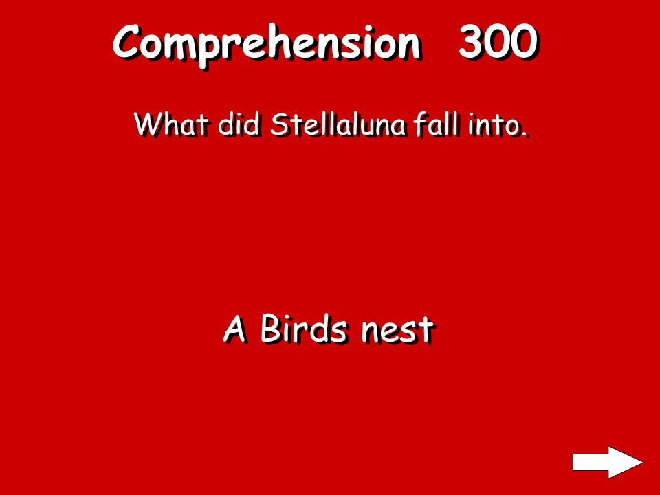 Comprehension 200 Who caused Stellaluna To fall from her mother Who caused Stellaluna To fall from her mother An Owl