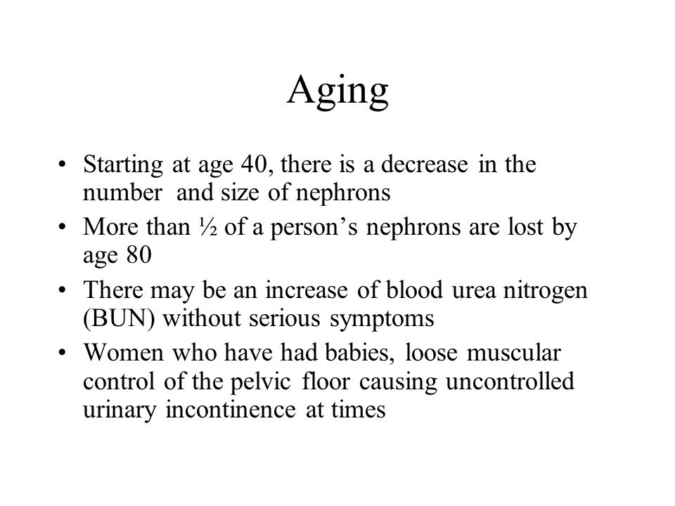 Aging Starting at age 40, there is a decrease in the number and size of nephrons More than ½ of a persons nephrons are lost by age 80 There may be an