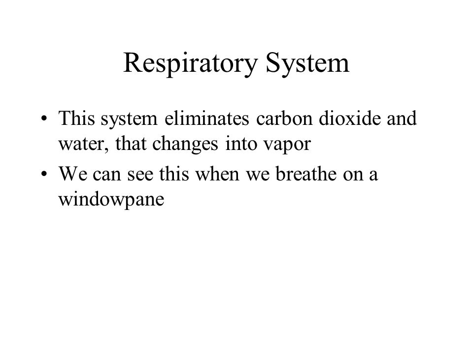 Respiratory System This system eliminates carbon dioxide and water, that changes into vapor We can see this when we breathe on a windowpane