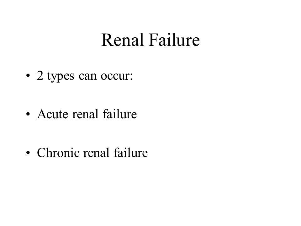 Renal Failure 2 types can occur: Acute renal failure Chronic renal failure