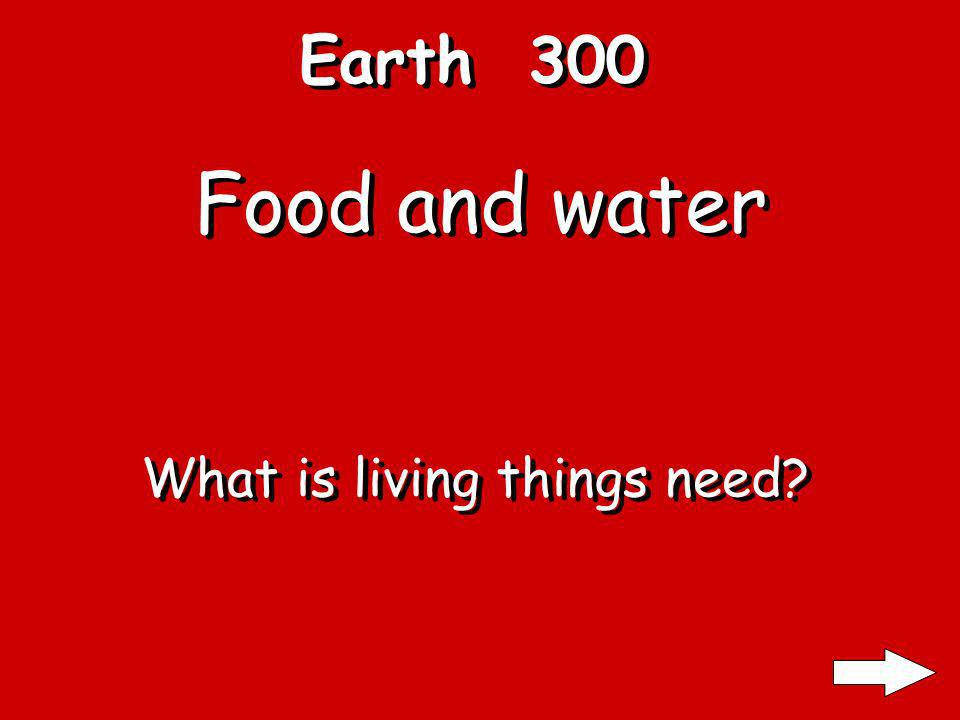 Earth 300 Food and water What is living things need?