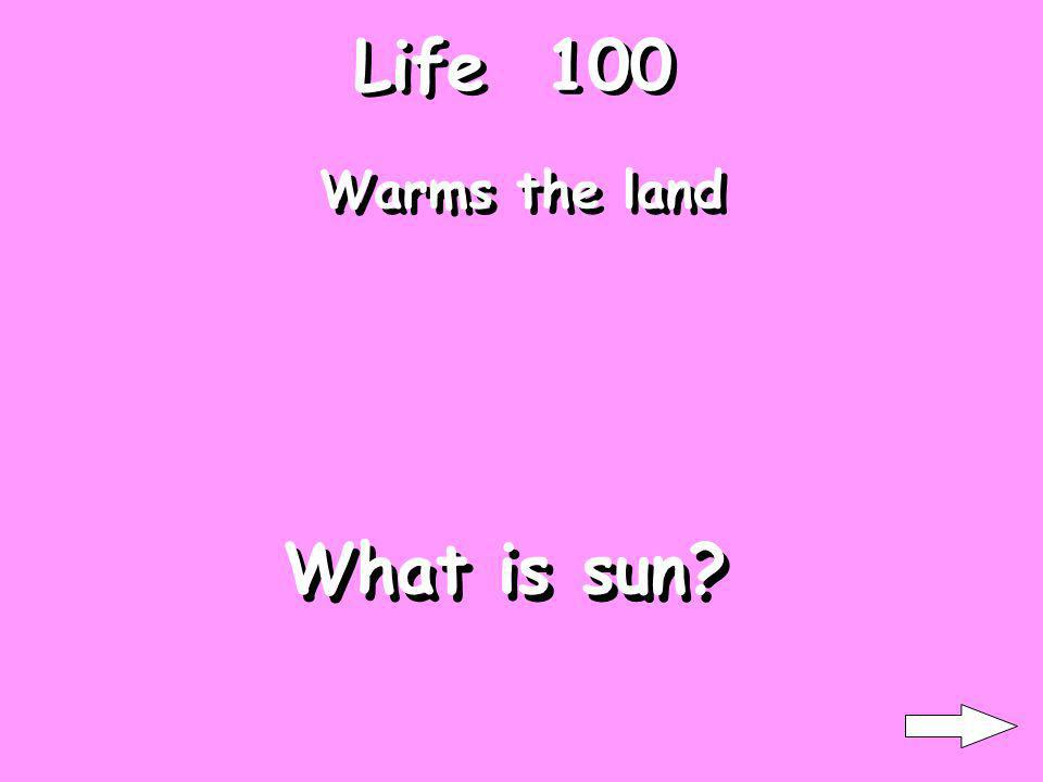 Life 100 Warms the land What is sun?