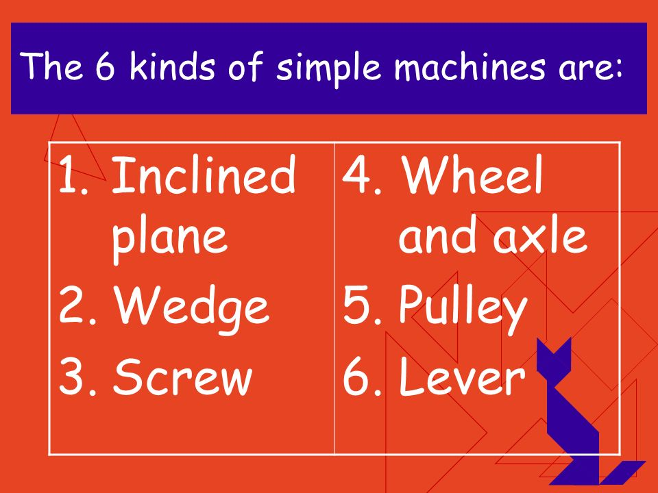 1.Simple machines help us do work. 2.Machines make work easy. 3.There are 6 kinds of simple machines.