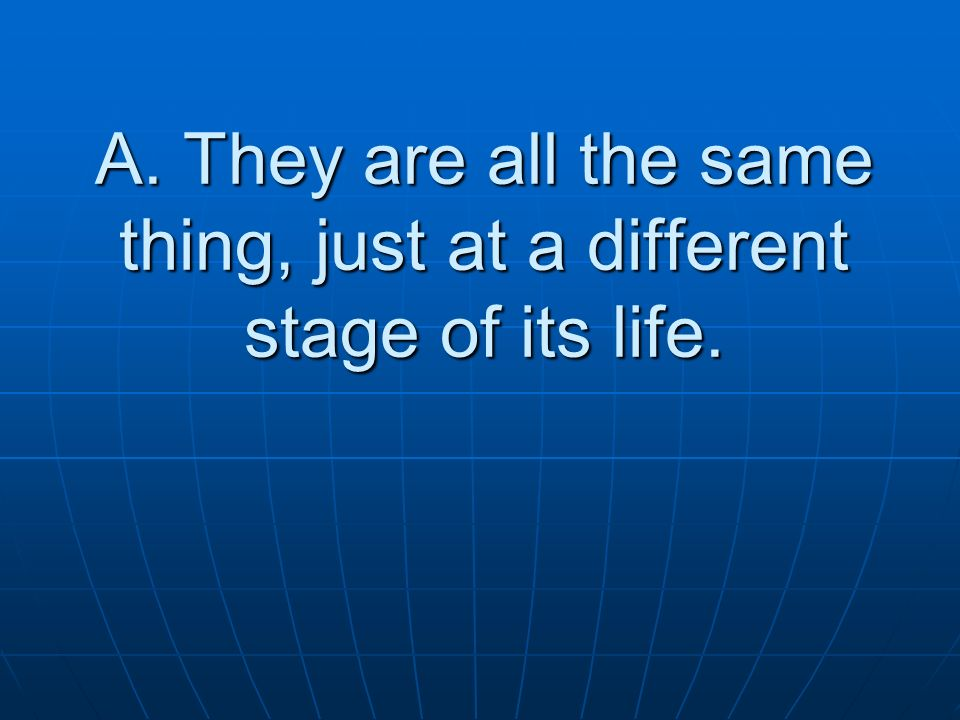 A. They are all the same thing, just at a different stage of its life.