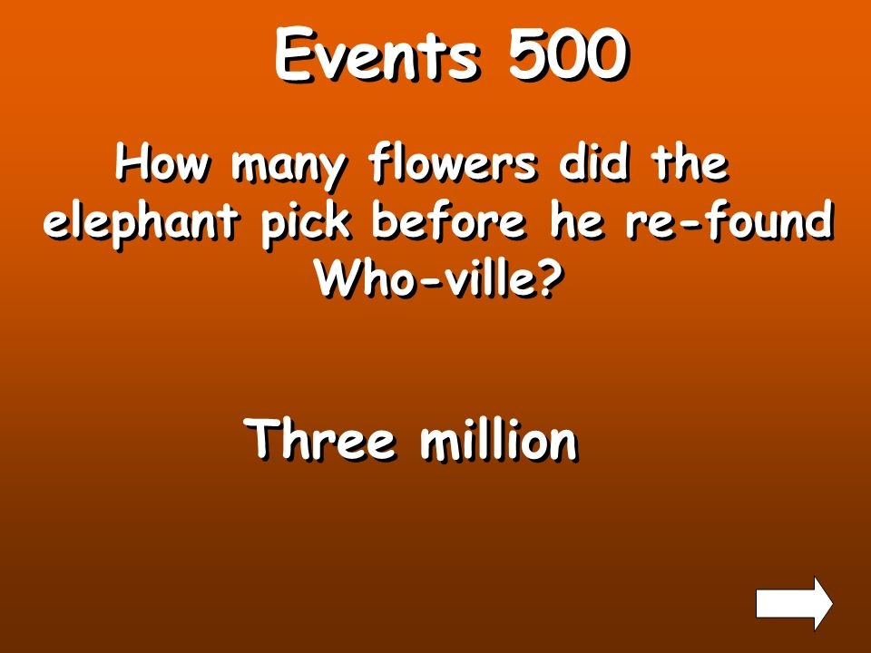 Events 400 Who is the first Who that the elephant talks to? The mayor of Who-ville