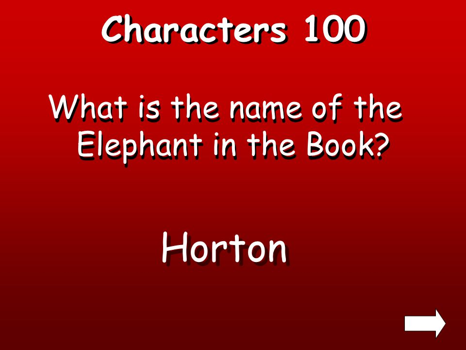Characters 100 What is the name of the Elephant in the Book? Horton