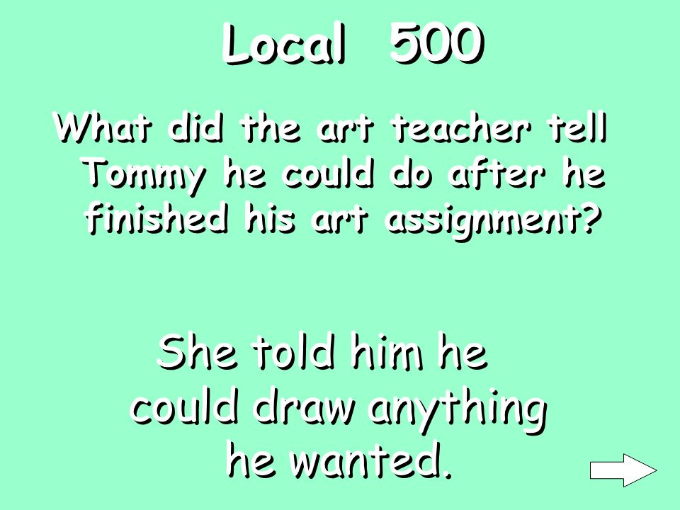 Ending 400 What did Tommy tell the art teacher what real artists dont do What is copying