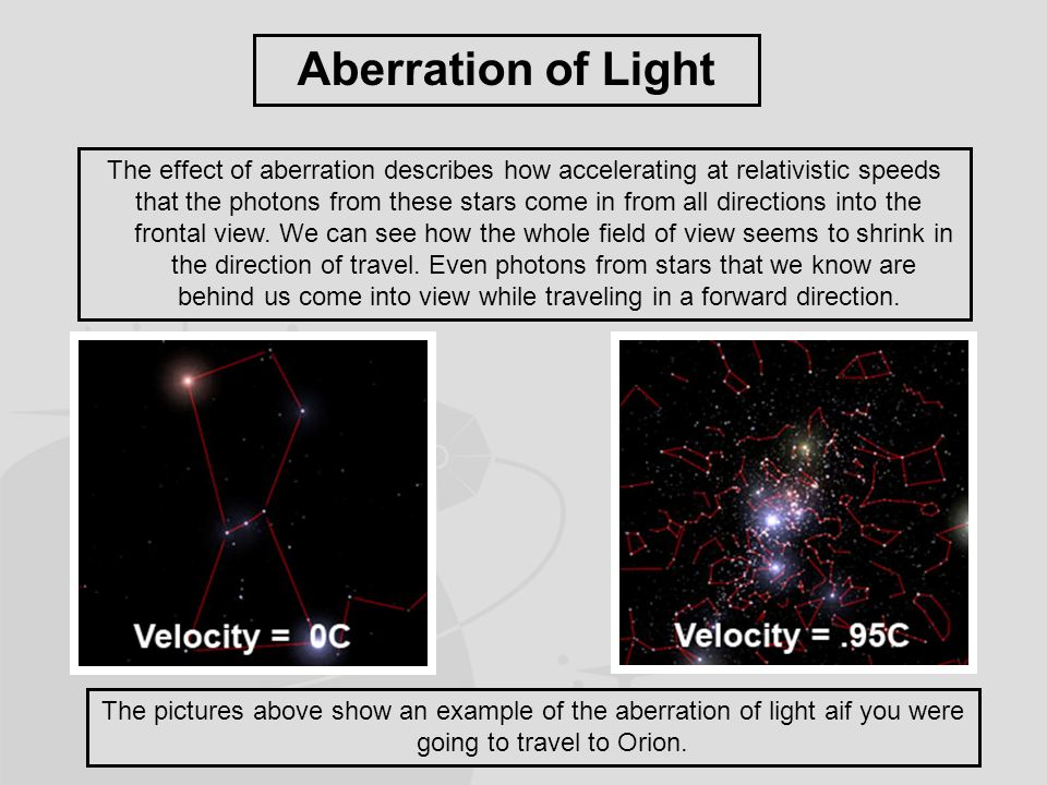 Aberration of Light The effect of aberration describes how accelerating at relativistic speeds that the photons from these stars come in from all directions into the frontal view.