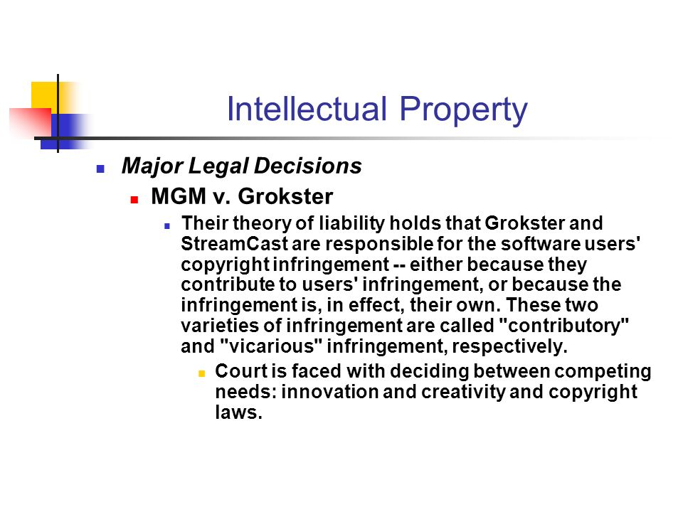 Intellectual Property Major Legal Decisions MGM v.
