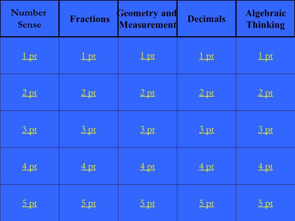 2 pt 3 pt 4 pt 5 pt 1 pt 2 pt 3 pt 4 pt 5 pt 1 pt 2 pt 3 pt 4 pt 5 pt 1 pt 2 pt 3 pt 4 pt 5 pt 1 pt 2 pt 3 pt 4 pt 5 pt 1 pt Number Sense Fractions Geometry and Measurement Decimals Algebraic Thinking