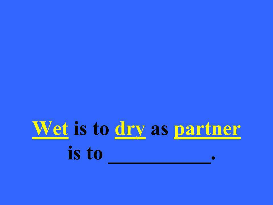 Wet is to dry as partner is to __________.