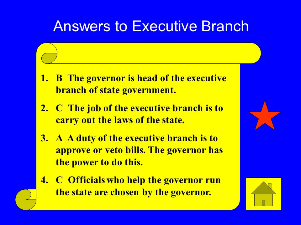 Click here to go view answers 3. What is the job of the judicial branch of government? A. Interpret the laws B. Carry out the lawsC. Make the laws 4.W