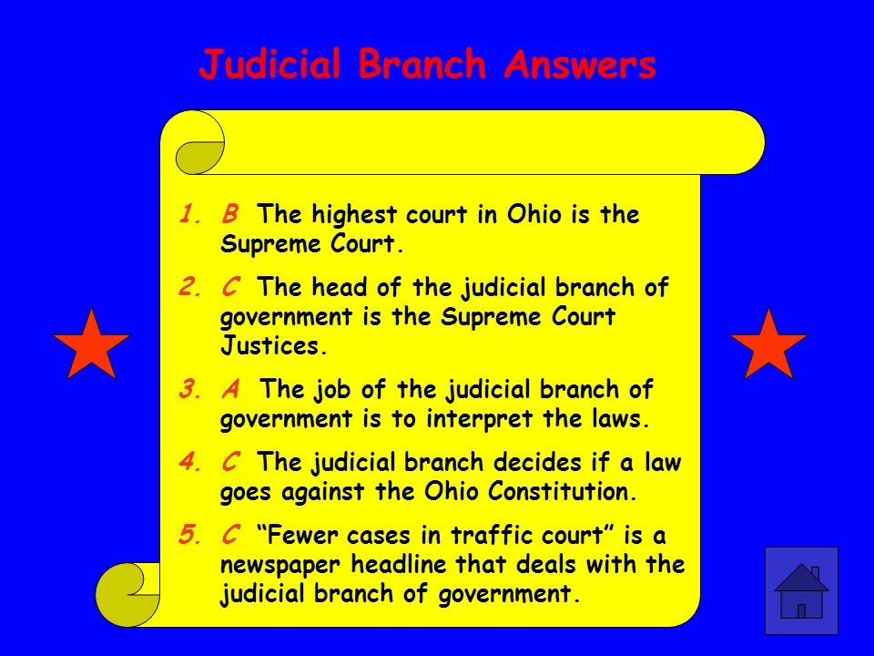 Legislative Branch Answers 1.B The Senate and the House of Representatives are called the General Assembly. 2.A The job of the legislative branch is t