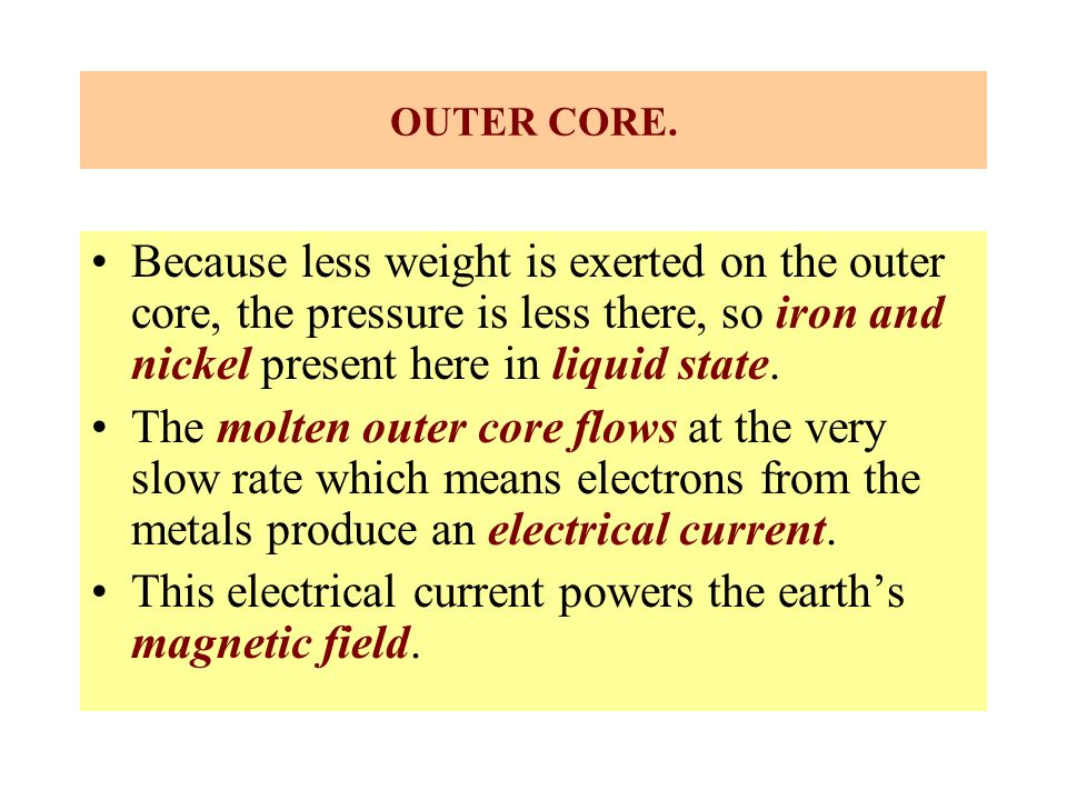 OUTER CORE. Because less weight is exerted on the outer core, the pressure is less there, so iron and nickel present here in liquid state. The molten