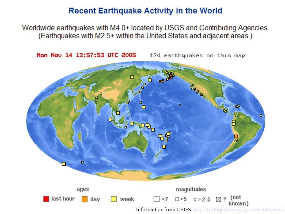Information from USGS: http://earthquake.usgs.gov/recenteqsww/http://earthquake.usgs.gov/recenteqsww/