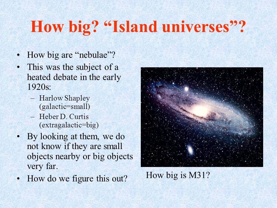 How big. Island universes. How big are nebulae.
