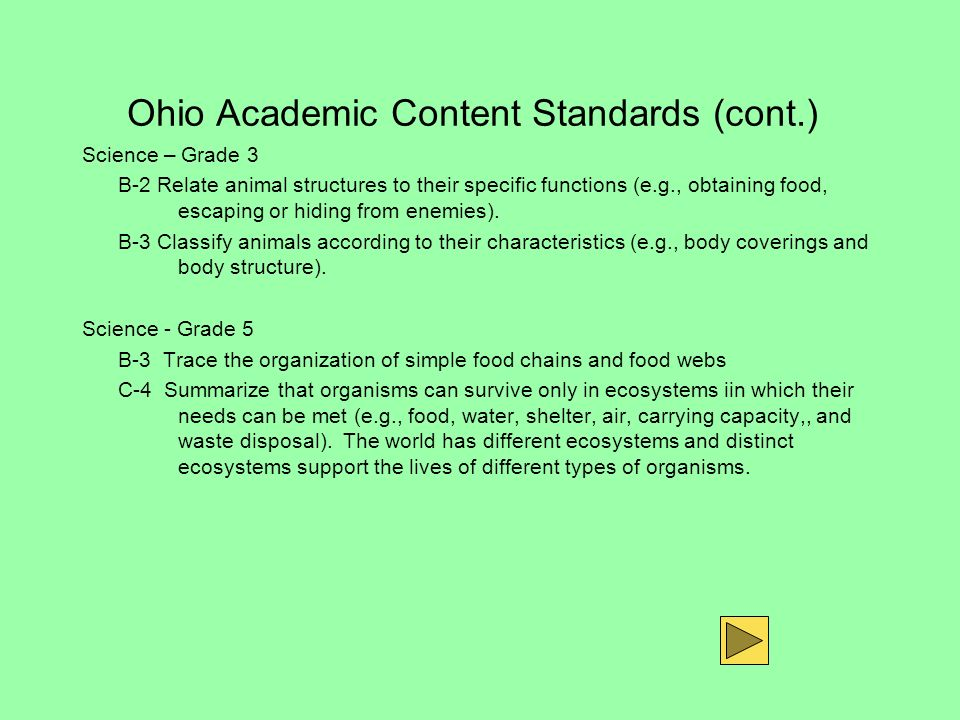Ohio Academic Content Standards (cont.) Science – Grade 3 B-2 Relate animal structures to their specific functions (e.g., obtaining food, escaping or