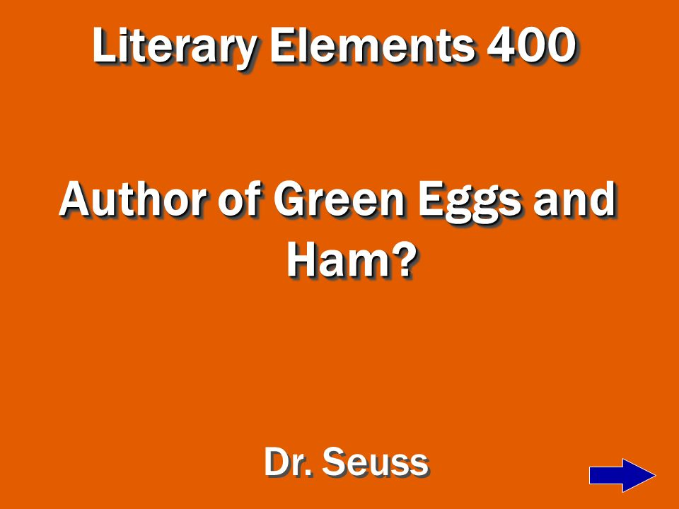 Literary Elements 300 ConflictConflict Sam tries to bug the unnamed character to eat green eggs and ham