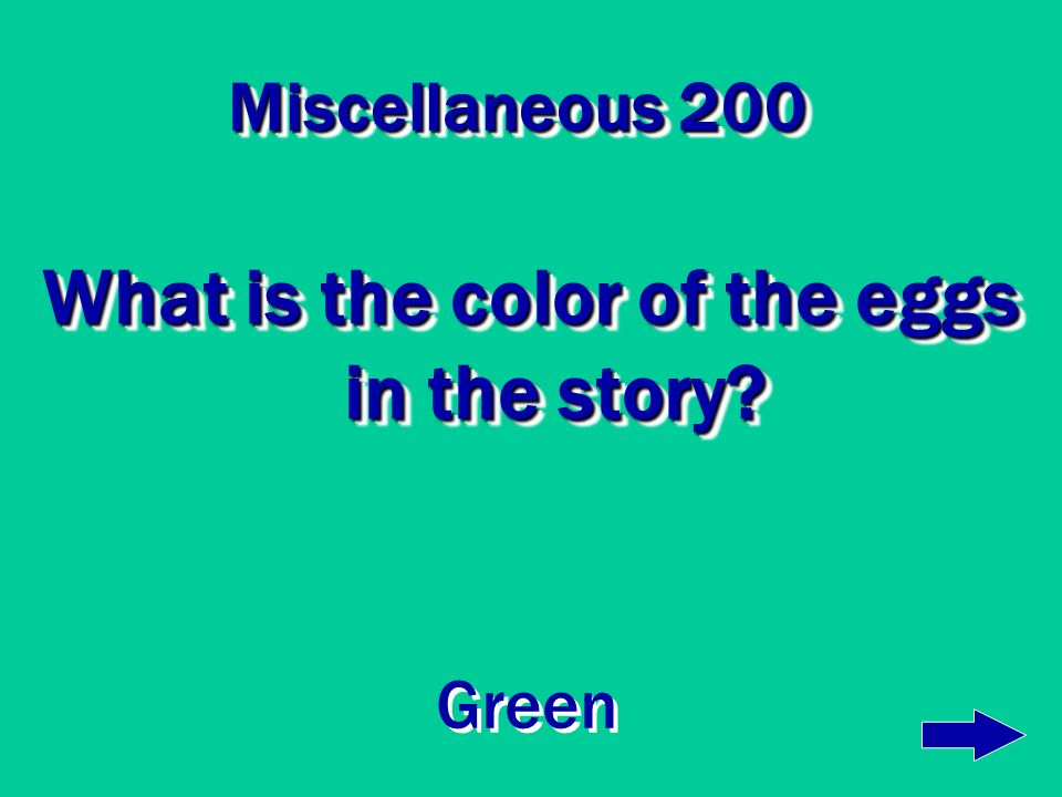 Miscellaneous 100 Where is the first place Sam asks to eat green eggs and ham? In a house