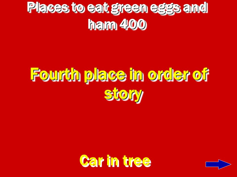 Places to eat green eggs and ham 300 Third place in story A box with fox