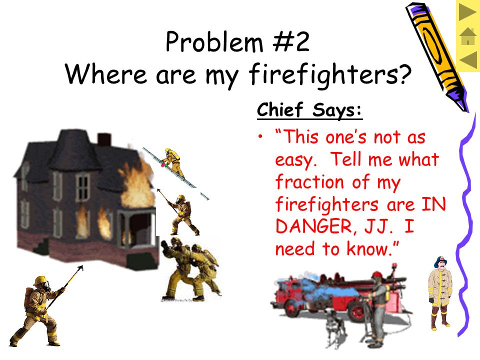 Problem #2 Where are my firefighters? Chief Says: Hes safe, but those guys over there are in danger if that house falls.