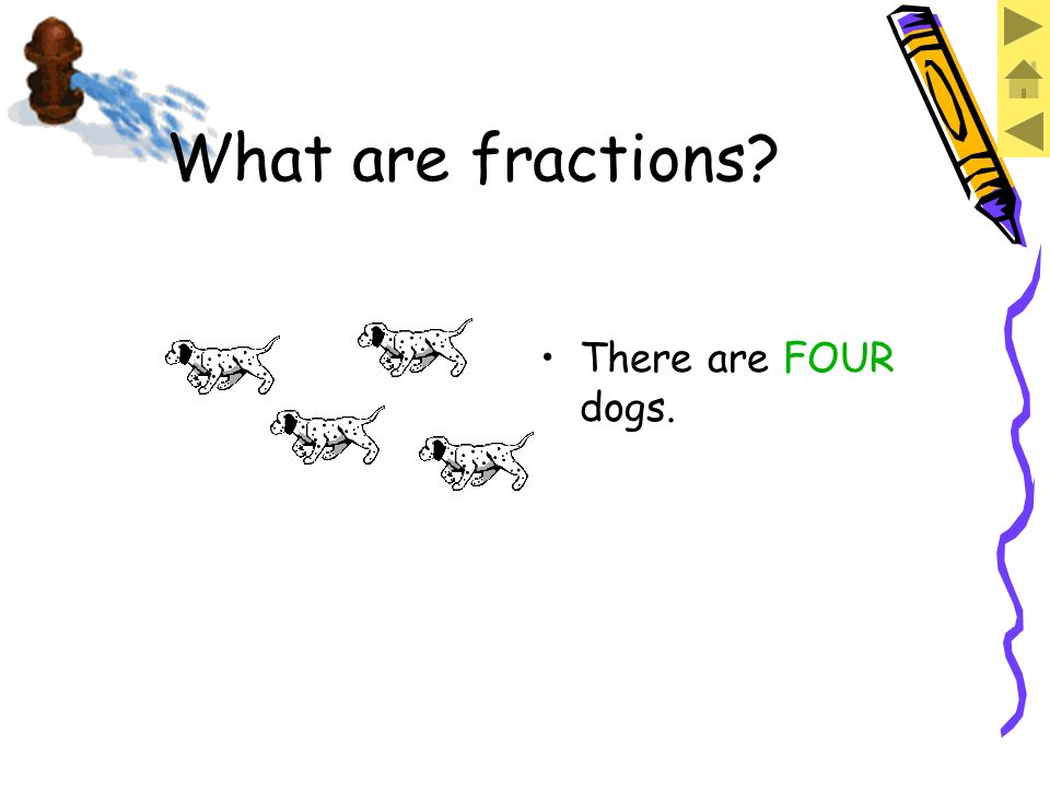Fractions are made when we have more than one of something. What are fractions?