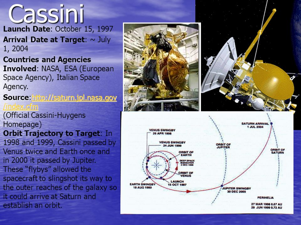 Cassini Launch Date: October 15, 1997 Arrival Date at Target: ~ July 1, 2004 Countries and Agencies Involved: NASA, ESA (European Space Agency), Itali