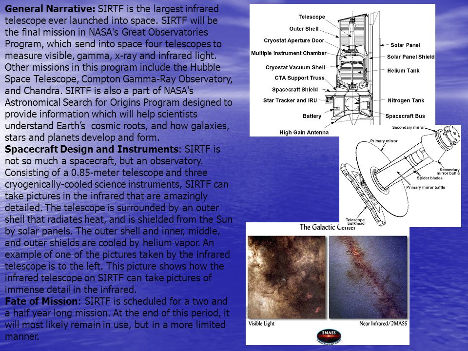 General Narrative: SIRTF is the largest infrared telescope ever launched into space. SIRTF will be the final mission in NASA's Great Observatories Pro