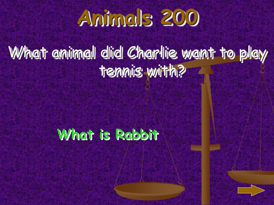 Animals 100 What animal did Charlie want to play cards with What is monkey