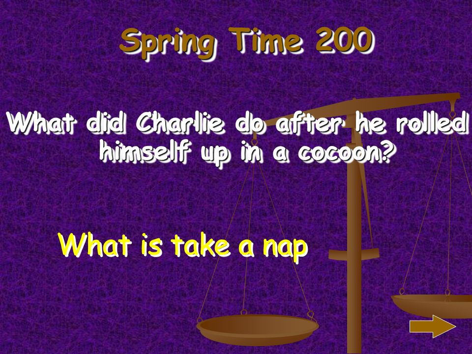 Spring Time 100 When Charlie felt cold what did he roll himself into What is a cocoon