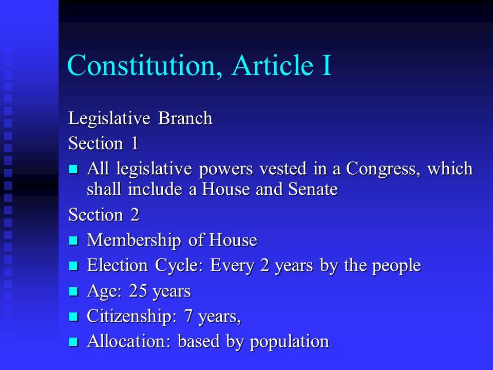 Constitution, Article I Legislative Branch Section 1 All legislative powers vested in a Congress, which shall include a House and Senate All legislati