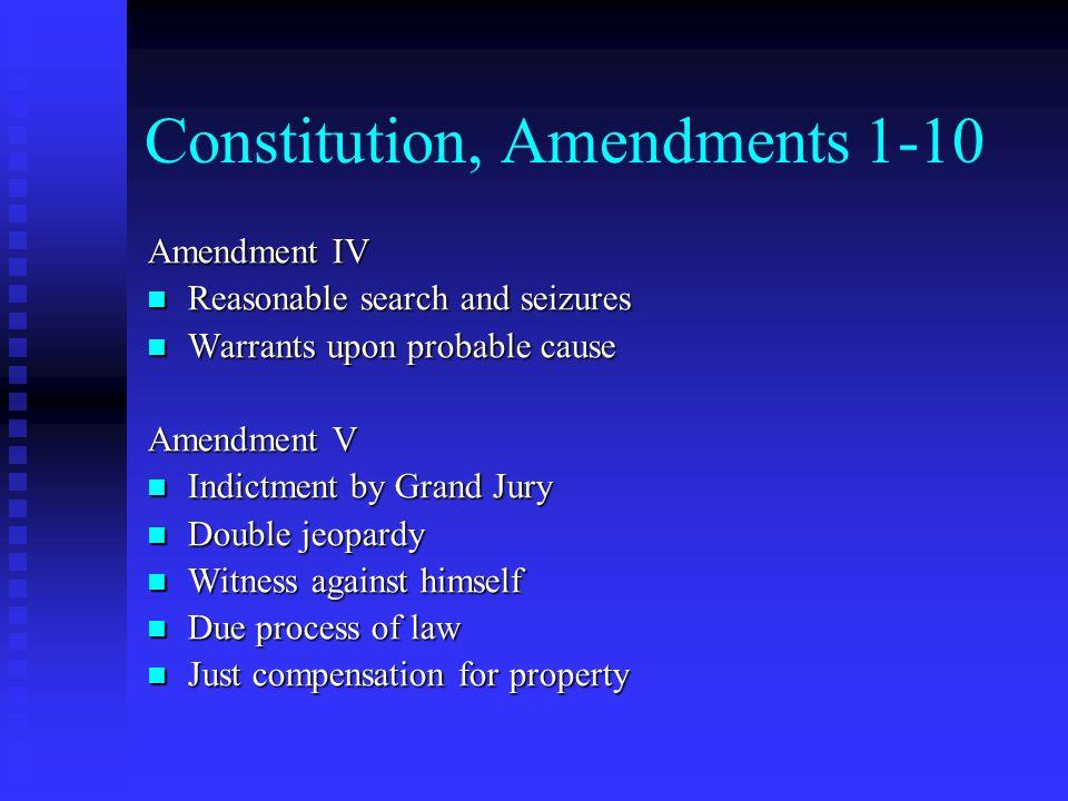 Constitution, Amendments 1-10 Amendment IV Reasonable search and seizures Reasonable search and seizures Warrants upon probable cause Warrants upon pr