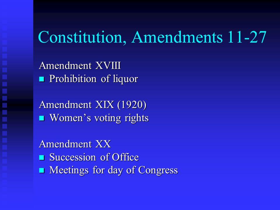 Constitution, Amendments 11-27 Amendment XVIII Prohibition of liquor Prohibition of liquor Amendment XIX (1920) Womens voting rights Womens voting rig