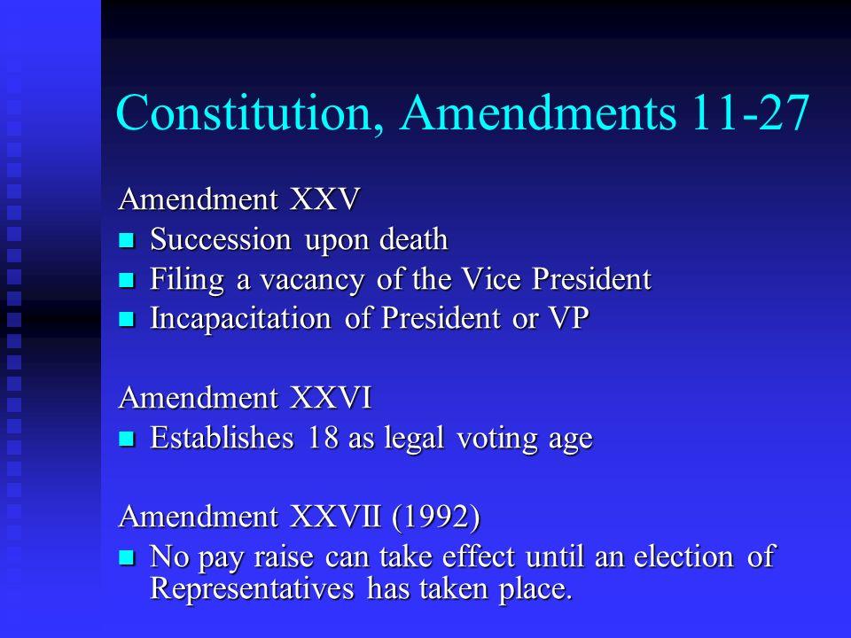 Constitution, Amendments 11-27 Amendment XXV Succession upon death Succession upon death Filing a vacancy of the Vice President Filing a vacancy of th
