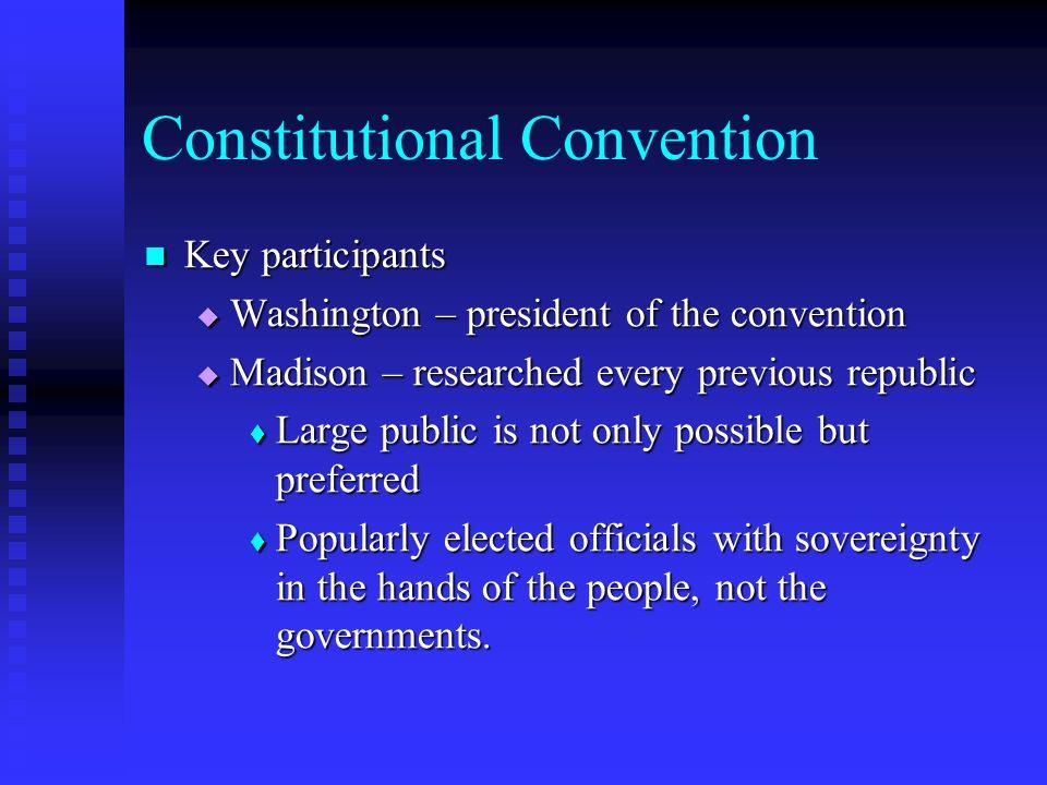 Constitutional Convention Key participants Key participants Washington – president of the convention Washington – president of the convention Madison