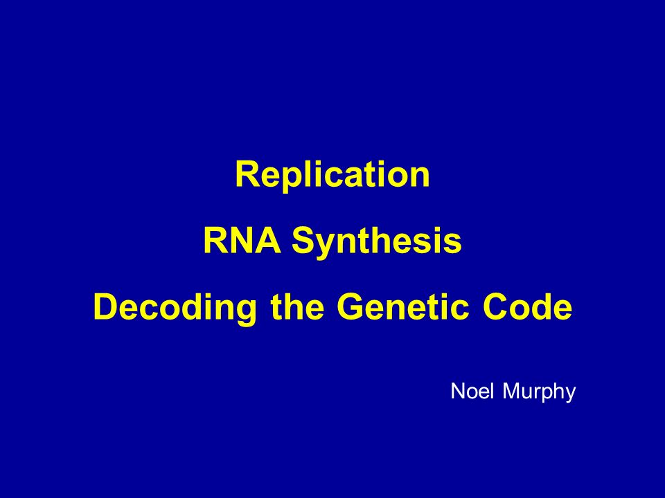 Replication RNA Synthesis Decoding the Genetic Code Noel Murphy
